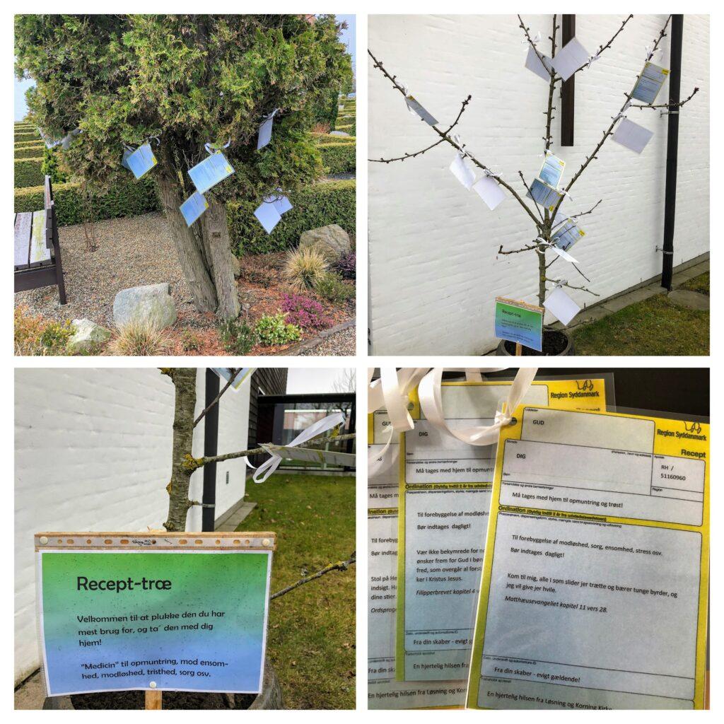 Collage med recepttræer med ord til opmuntring